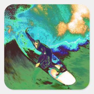 Surfer2 Quadratischer Aufkleber
