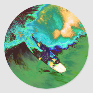 Surfer2 Runder Aufkleber
