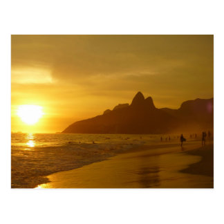 Surfer am Sonnenuntergang Postkarte