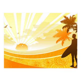 Surfer auf Strand-Entwurf Postkarte