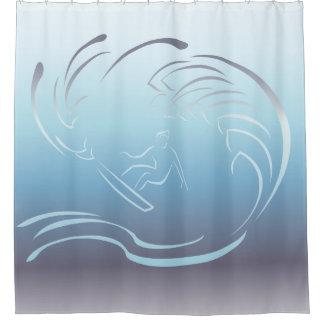Surfer-blaue Ozean-Welle Duschvorhang