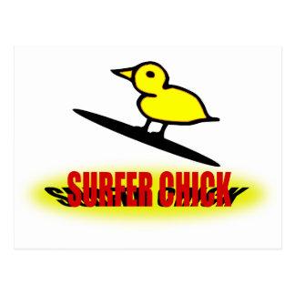 Surfer-Küken Postkarte