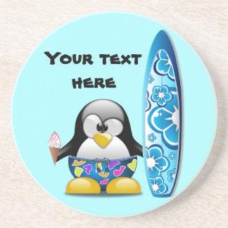 Surfer-Pinguin mit Eiscreme Getränkeuntersetzer