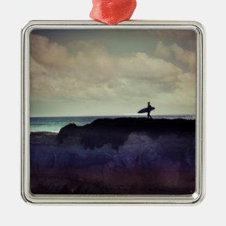 Surfer Quadratisches Silberfarbenes Ornament
