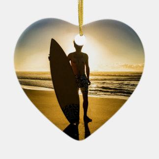 Surfer-Silhouette während des Sonnenaufgangs Keramik Ornament
