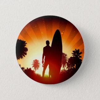 Surfer-Sonnenuntergangknopf Runder Button 5,1 Cm