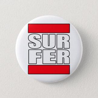 Surfer surfendes Brandungst-shirt Runder Button 5,7 Cm