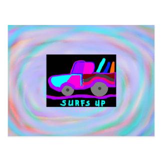 Surfer surft herauf Postkarte