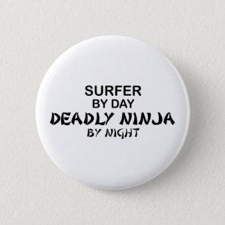 Surfer tödliches Ninja bis zum Nacht Runder Button 5,1 Cm