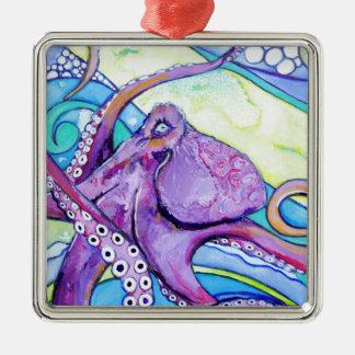 Surfin Krake Silbernes Ornament
