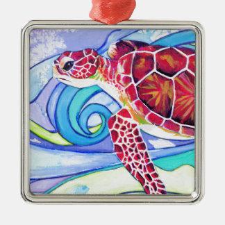 Surfin Schildkröte Silbernes Ornament