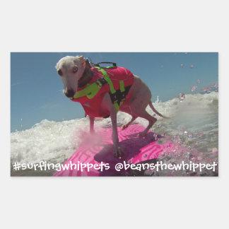 #surfingwhippets Bohnen Rechteckiger Aufkleber