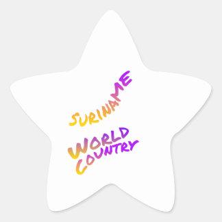 Surinam-Weltland, bunte Textkunst Stern-Aufkleber