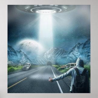 surreal Fantasie des UFO-alienraumschiffes und Poster