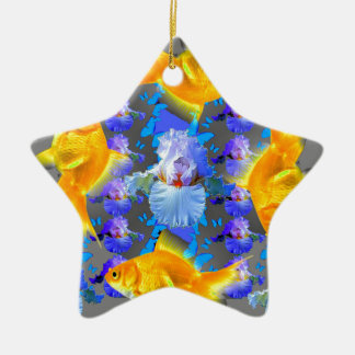 SURREALE GOLDfische U. BLAUE SCHMETTERLINGS-GRAFIK Keramik Ornament