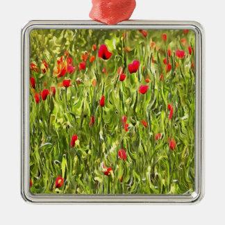 Surreale hypnotische Mohnblumen Silbernes Ornament