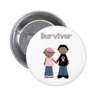 Survivor Pink Ribbon Cartoons Buttons
