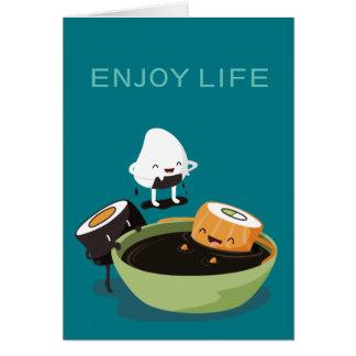 Sushi genießen die lustige Badzeit Grußkarte
