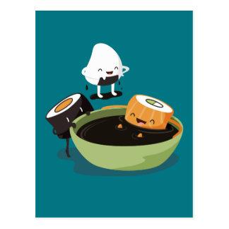 Sushi genießen die lustige Badzeit Postkarte