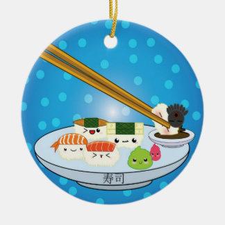 Sushi-Servierplatte DBL versah Verzierung mit Keramik Ornament