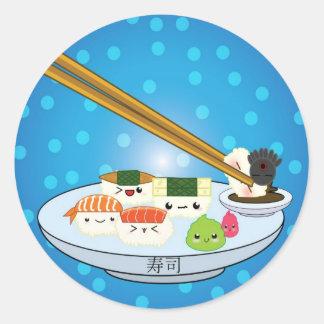 Sushi-Servierplatten-Aufkleber Runder Aufkleber