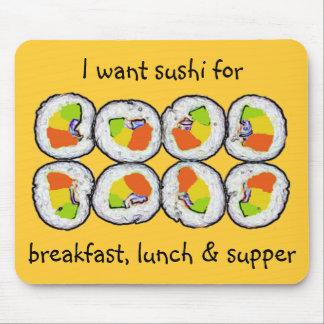 Sushi-Sushi-Frühstücks-Mittagessen und Abendessen Mousepad
