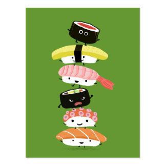 Sushi-Turm - ein glücklicher Stapel Sushi-Freunde Postkarte