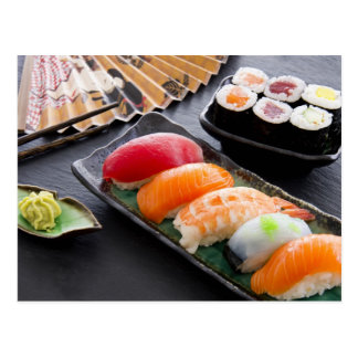 Sushi und Rollen Postkarte