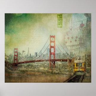 Suspendierung - Golden gate bridge-Collagen-Plakat Poster