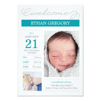 Süß dokumentierte Geburts-Mitteilungen - Bliue 12,7 X 17,8 Cm Einladungskarte