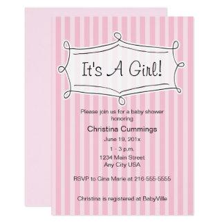 Süß gestreifte Babyparty-Einladung (Rosa) Karte