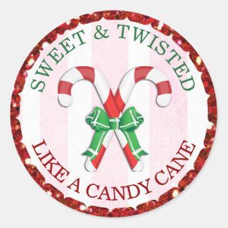 Süß und verdreht wie ein Zuckerstange-Aufkleber Runder Aufkleber