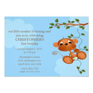 Süße Affe-Kindergeburtstag-Einladung 12,7 X 17,8 Cm Einladungskarte