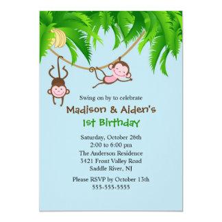 Süße Affe-Zwillings-Geburtstags-Einladung 12,7 X 17,8 Cm Einladungskarte