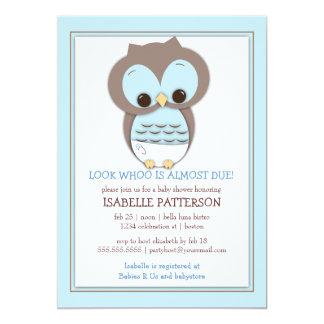 Süße Baby-Eulen-Jungen-Whoo Babyparty-Einladung 12,7 X 17,8 Cm Einladungskarte