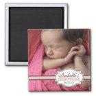 Süße Baby-Mädchen-Taufe Brown u. rosa Foto Quadratischer Magnet