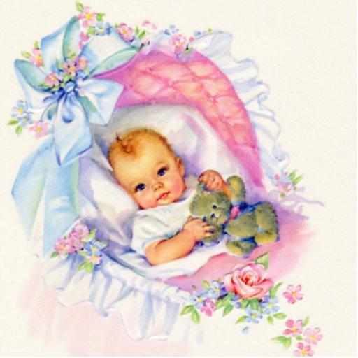 Süße Baby-Mädchen-Vintage rosa Baby-Mädchen-Dusche Acryl Ausschnitte