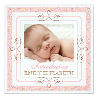 Süße Baby-Mädchen-wunderliche Blasen-Foto-Geburt Quadratische 13,3 Cm Einladungskarte