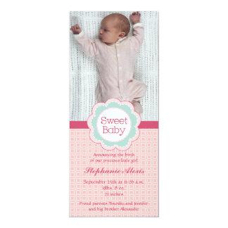 Süße Babymädchen-Fotorosa-Geburtsmitteilung 10,2 X 23,5 Cm Einladungskarte
