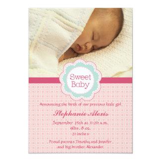 Süße Babymädchen-Fotorosa-Geburtsmitteilung 12,7 X 17,8 Cm Einladungskarte