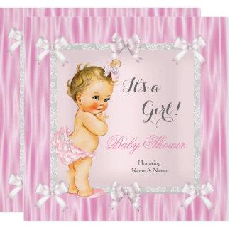 Süße Babyparty-Rosa-graues Weiß-Silk Blondine Karte