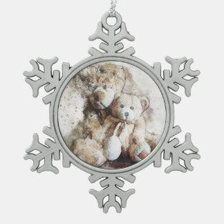 Süße Brown-Teddybär-Zinn-Weihnachtsverzierung Schneeflocken Zinn-Ornament