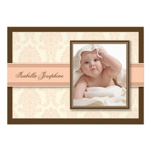 Süße Damast-Schokoladen-Geburts-Mitteilung (Pfirsi Personalisierte Einladungskarte