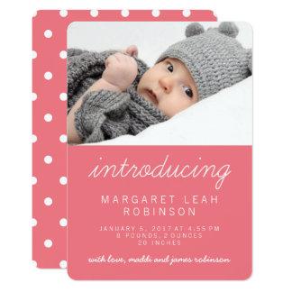 Süße einfache rosa moderne Foto-Geburts-Mitteilung 12,7 X 17,8 Cm Einladungskarte