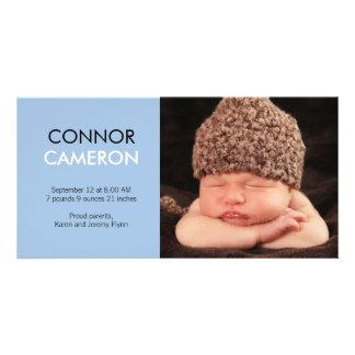 Süße Einfachheits-Baby-Geburts-Mitteilung - Blau Fotokartenvorlage