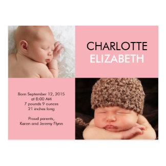 Süße Einfachheits-Geburts-Mitteilung - Rosa Postkarte