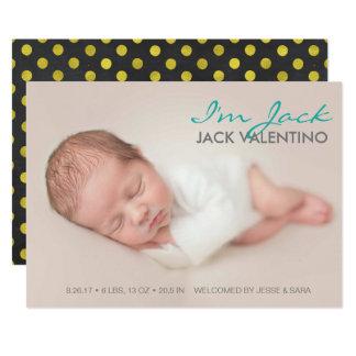 Süße Einleitungs-Geburts-Mitteilungs-Foto-Karte 12,7 X 17,8 Cm Einladungskarte