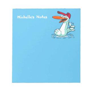 süße Ente auf dem See-Cartoon Notizblock