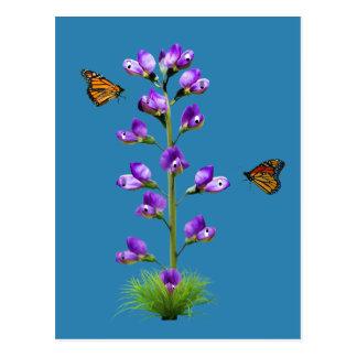 Süße Erbsen-Fantasie mit Schmetterlingen Postkarte