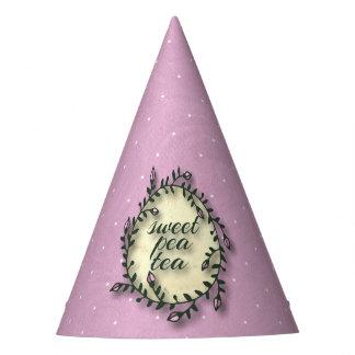 Süße Erbsen-Tee-Geburtstag - rosa Tupfen Partyhütchen